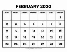 Free Calendar Template February 2020 Download 2019 Calendar Printable With Holidays List Free