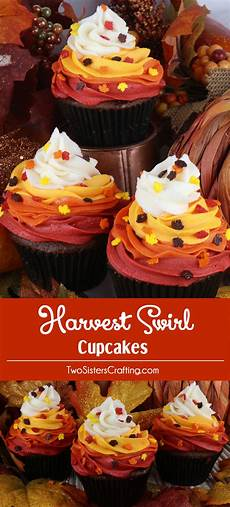 Thanksgiving Bake Sale Harvest Swirl Cupcakes Two Sisters