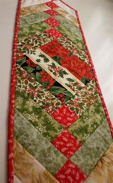 patchwork tablerunner traditional green and