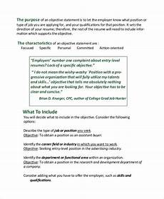 Resume Objective Example Customer Service Free 7 Sample Resume Objective Examples In Pdf