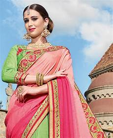 Light Green With Pink Saree Buy Good Looking Pink Amp Light Green Georgette Saree