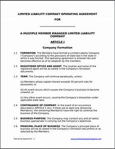 Template For Llc Operating Agreement Free Operating Agreement Template For A Member Managed Llc