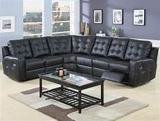 modern leather reclining sectional sofa 600315 black