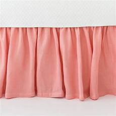 pine cone hill washed linen coral paneled bed skirt