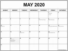 Printable May 2020 Calendar With Holidays Collection Of May 2020 Calendars With Holidays