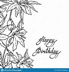 Collection Of Hand Drawn Greetings Words Happy Birthday Card Frame Of Lily Flowers And Buds Hand