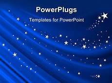 Stars Powerpoint Powerpoint Template Blue Curtain Background With White