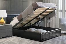 black ottoman storage bed padded bed frame with gas lift