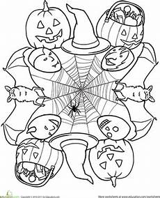 halloween mandala coloring pages halloween mandala worksheet education com