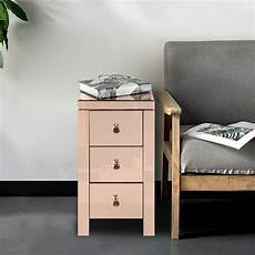 mirrored glass bedside table cabinet with three drawers