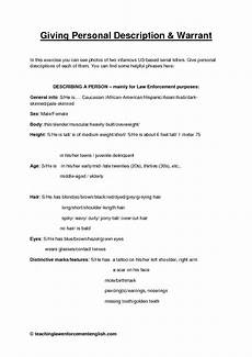 Personal Description 92 Free Crime And Punishment Worksheets