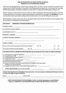 King County Sales Tax Chart County Of Kings Personal Tax Exemption Form 2016 2017