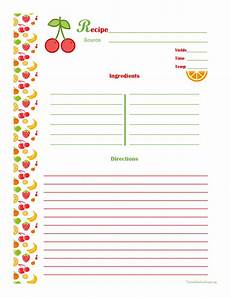 Editable Recipe Page Template Cherry Amp Orange Recipe Card Full Page Printable Recipe