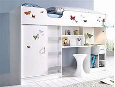 lifestyle high sleeper bed with butterfly graphics