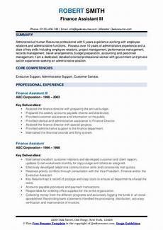 Cv For Finance Assistant Finance Assistant Resume Samples Qwikresume