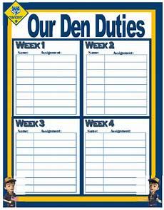 Den Duty Chart Ideas Den Duty Chart I Love Cub Scouts