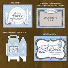 light blue elephant baby shower printable package