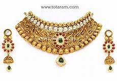 22k Gold Indian Jewellery Designs 22k Gold Antique Choker Necklace Amp Drop Earrings Set With