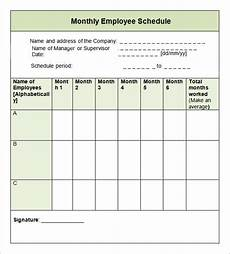 Monthly Employee Schedule Template Free Free 10 Sample Monthly Schedule Templates In Google Docs