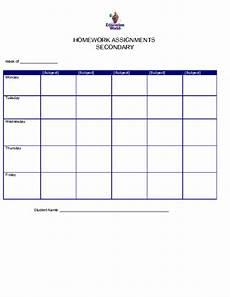 Homework Assignments Template Secondary Homework Assignment Organizer Template
