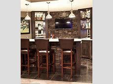 Stone wall behind the bar   Bars for home, Basement bar designs, Apartment floor plans