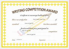 Certificate For Competition Writing Competition Award Certificates Professional
