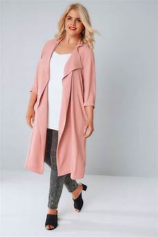 pink coats for duster dusky pink panelled duster jacket with waterfall front