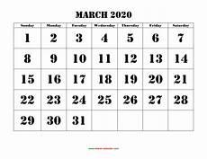 March 2020 Calendar Printable Printable March 2020 Calendar Free Blank Templates