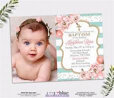 Christening Invitations Girl Girl Baptism Invitation Blush Pink And Turquoise Baptism