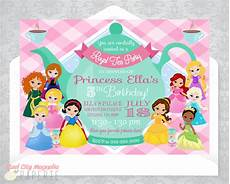 Disney Party Invitations Princess Tea Party Invitation Birthday Invite Disney Etsy