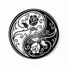 yin yang roses black classic sticker beautiful