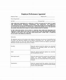 Employee Comment On Performance Appraisal Example Free 6 Sample Performance Appraisal In Ms Word Pdf