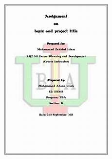 How To Write A Cover Page Cover Page Of An Assignment