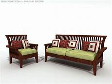 Wood Frame Sofa 3d Image by Wood Chair And Sofa 3d Model In Set 3dexport