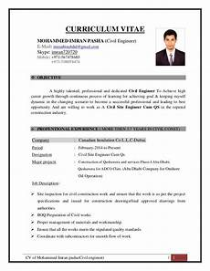 Civil Engg Resume Cv Of Mohammed Imran Pasha Civil Engineer 1 Curriculum
