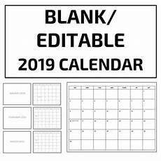Editable Calander Blank Editable 2019 Calendar Template Google Slides Tpt