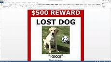 Lost Dog Poster Maker Lost Dog Poster Template Free Download Ms Word Youtube