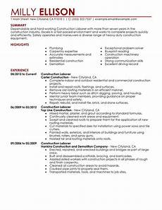 Resume Examples For Laborer Unforgettable Construction Labor Resume Examples To Stand