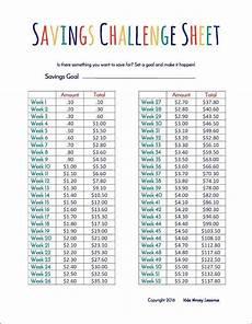 Savings Goal Chart Savings Challenge Sheet