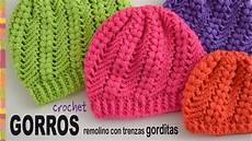 crochet gorros gorros remolino con trenzas gorditas tejidos a crochet