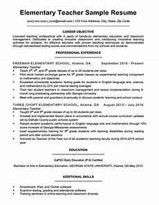 Objective For Resume Teacher Elementary Teacher Resume Sample Amp Writing Tips Resume