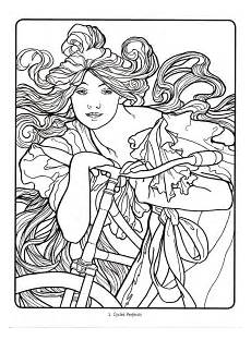 Malvorlagen Jugendstil Deco Alphonse Mucha 01 Abstract Coloring Pages