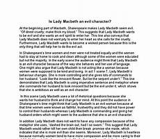 Macbeth Essay Conclusion Is Lady Macbeth An Evil Character Gcse English Marked