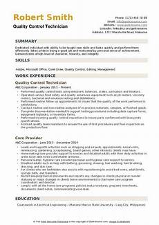 Quality Control Technician Resumes Quality Control Technician Resume Samples Qwikresume