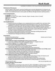 Resume Technical Summary Professional Software Engineering Manager Templates To