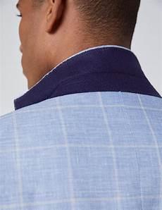Light Blue Check Jacket Men S Light Blue Check Linen Blend Slim Fit Jacket Hawes