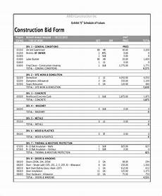 Sample Bidding Form Free 21 Sample Construction Forms In Pdf Ms Excel Ms Word