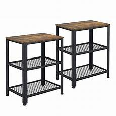 yaheetech set of 2 side tables nightstand industrial end
