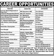 Agricultural Career List Sugar Industry Thatta Jobs In Pakistan April 2013