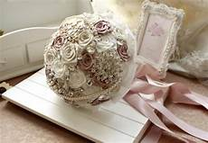 diy wedding brooch bouquet kit ribbon flowers rhinestone